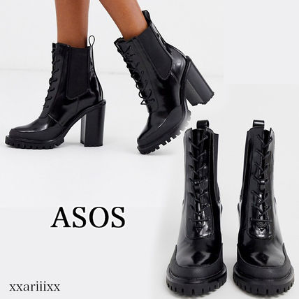 ASOS Lace-up Casual Style Faux Fur Blended Fabrics Plain