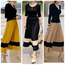 Flared Skirts Bi-color Long Elegant Style Maxi Skirts
