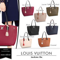 Louis Vuitton LOCKME Casual Style A4 Plain Leather Totes
