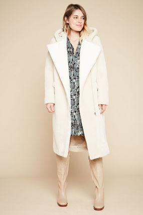 Faux Fur Plain Long Oversized Coats