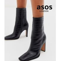 ASOS Square Toe Other Animal Patterns Leather Block Heels