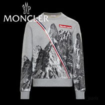 MONCLER Crew Neck Long Sleeves Cotton Logos on the Sleeves