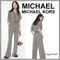 Michael Kors Stripes Casual Style Dolman Sleeves V-Neck Long Office Style