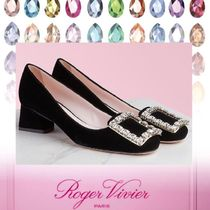 Roger Vivier Square Toe Plain Leather Party Style Elegant Style