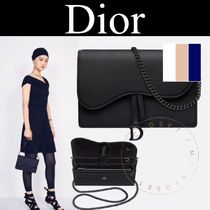 Christian Dior Casual Style Calfskin Blended Fabrics 2WAY Chain Plain