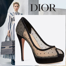 Christian Dior Dots Open Toe Leather Peep Toe Pumps & Mules
