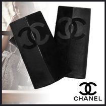 CHANEL Suede Blended Fabrics Plain Leather