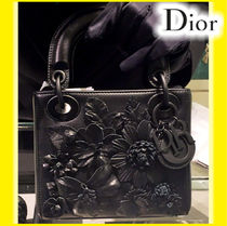 Christian Dior LADY DIOR Flower Patterns Lambskin 2WAY Chain Plain Elegant Style