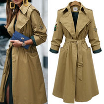 Casual Style Plain Long Office Style Trench Coats