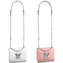 Louis Vuitton TWIST Blended Fabrics Chain Plain Leather Elegant Style