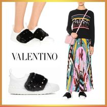 VALENTINO Casual Style Fur Blended Fabrics Leather Logo