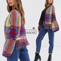 ASOS Crew Neck Other Check Patterns Casual Style Medium Fringes