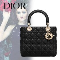 Christian Dior LADY DIOR Lambskin 2WAY Plain Handbags