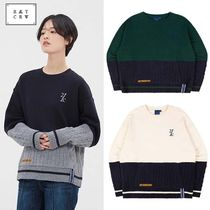 ROMANTIC CROWN Crew Neck Cable Knit Unisex Blended Fabrics Street Style