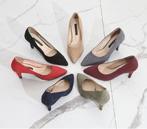 Square Toe Casual Style Suede Plain Block Heels Party Style