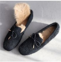 Casual Style Faux Fur Plain Office Style Shearling