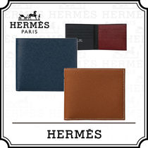 HERMES Unisex Calfskin Plain Folding Wallets