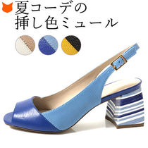 CAPELLI ROSSI Stripes Open Toe Casual Style Leather Elegant Style