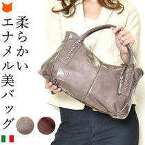 DEL CONTE Casual Style 2WAY Plain Leather Elegant Style Handbags