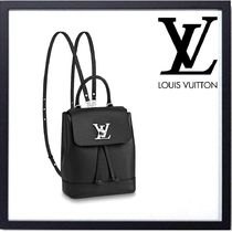 Louis Vuitton LOCKME Calfskin Blended Fabrics 3WAY Plain Elegant Style Backpacks