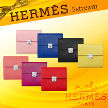 HERMES Lambskin Plain Folding Wallets