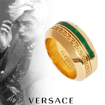 VERSACE Street Style Plain Metal With Jewels Rings