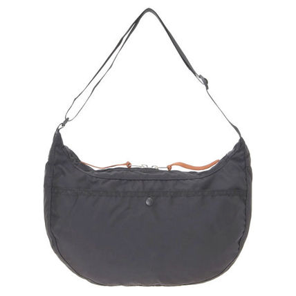 Nylon A4 Plain Logo Shoulder Bags