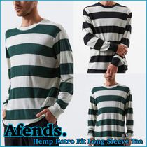 AFENDS Crew Neck Stripes Street Style Long Sleeves Cotton