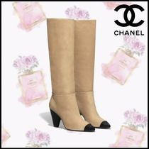 CHANEL Plain Toe Casual Style Suede Blended Fabrics Bi-color Chain