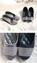 Square Toe Casual Style Faux Fur Studded Plain With Jewels