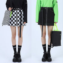 BASIC COTTON Pencil Skirts Short Other Check Patterns Street Style Plain