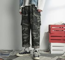 Camouflage Street Style Cotton Oversized Cropped Pants