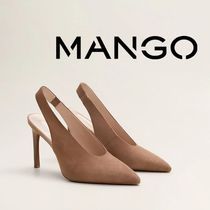 MANGO Casual Style Plain Leather Pin Heels Party Style