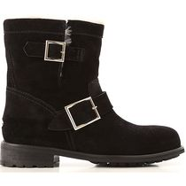 Jimmy Choo Round Toe Rubber Sole Suede Shearling Flat Boots