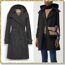 Burberry Tartan Plain Medium Elegant Style Trench Coats
