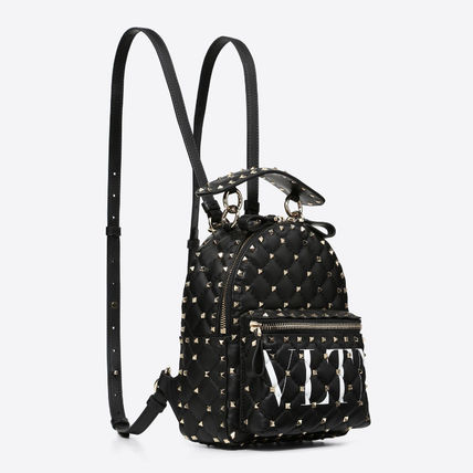 Casual Style Studded 2WAY Plain Crossbody Logo Backpacks