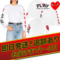 COMME des GARCONS Crew Neck Short Heart Unisex Street Style Long Sleeves