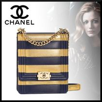 CHANEL Stripes Street Style Chain Leather Party Style Clutches