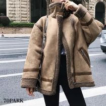 Casual Style Faux Fur Street Style Plain Medium Coats