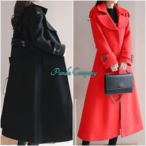 Dots Casual Style Wool Plain Long Trench Coats