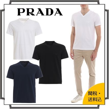 PRADA Pullovers Unisex Street Style V-Neck Plain Cotton