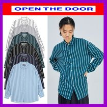 OPEN THE DOOR Stripes Street Style Long Sleeves Shirts & Blouses