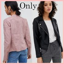 Only Faux Fur Plain Biker Jackets