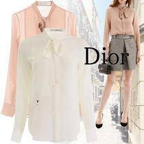 Christian Dior Silk Long Sleeves Long Elegant Style Shirts & Blouses
