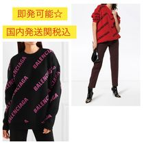 BALENCIAGA Crew Neck Casual Style Wool Street Style Bi-color