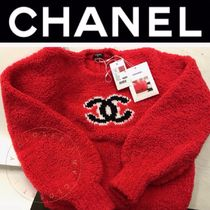 CHANEL ICON Crew Neck Cashmere Blended Fabrics Street Style Long Sleeves