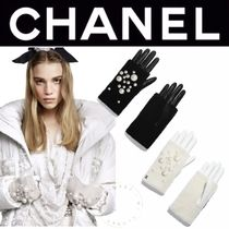CHANEL ICON Blended Fabrics Street Style Plain Leather Handmade