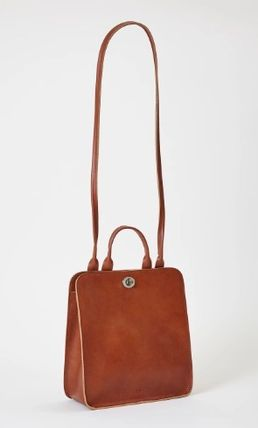Casual Style Plain Leather Logo Shoulder Bags