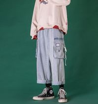 Denim Street Style Plain Cotton Cropped Pants