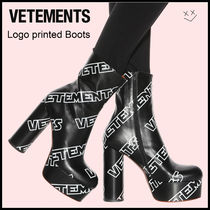 VETEMENTS Platform Round Toe Leather Ankle & Booties Boots